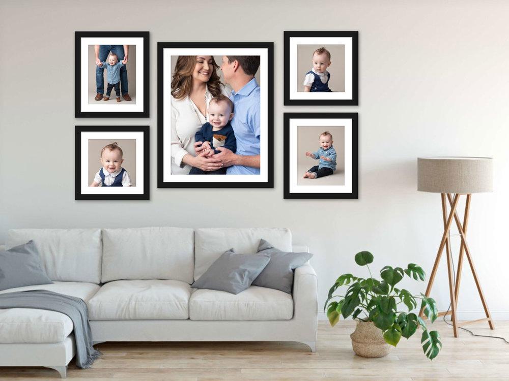 Framed family photos in living room