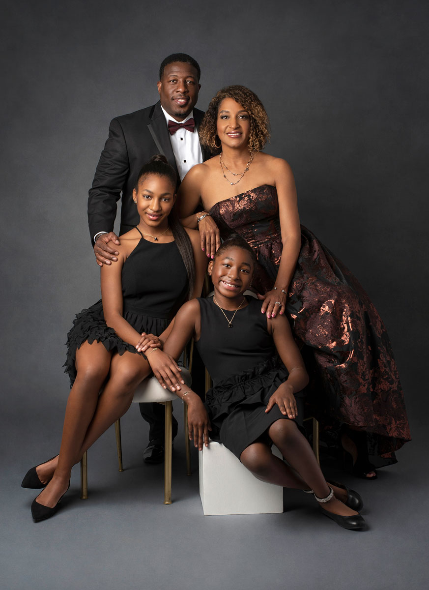 African American family in formal dress