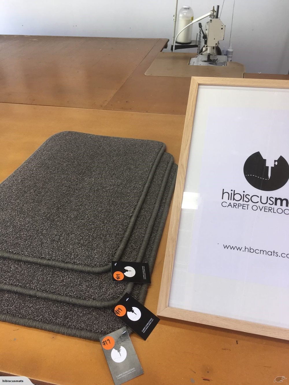Carpet Mat 0.70m x 0.48m by Hibiscus Mats Carpet Overlocking $19 - Solution dyed nylon carpet mat cut & overlocked by Hibiscus Mats Carpet Overlocking. - Measures 0.70m x 0.48m- Colour: Charcoal Grey- Rounded corners to prevent curling- Can be gripped with Giltgrip Rug Grip for an additional fee
