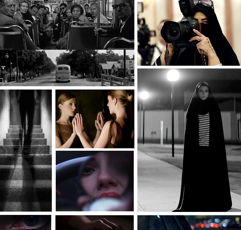 All images in this moodboard are copyright of their respective owners and are used here for educational non-commercial purposes, including stills from  The Graduate ,  Girl Walks Home Alone at Night , and  Under the Skin