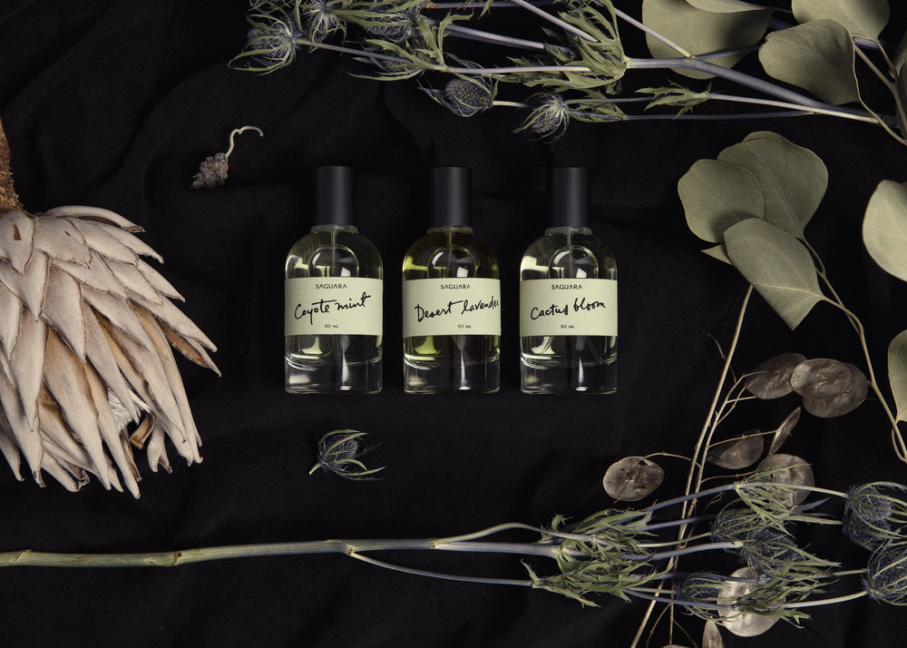 SAGUARA PERFUMES Moved by the stillness of the California desert, Saguara Perfumes pays homage to the redolence of this transcendent wasteland. Saturated with delicate desert florals and native herbs, their handmade artisanal scents capture the ancient spirit of this harsh yet harmonious landscape.