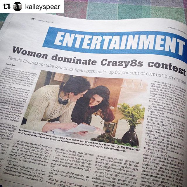 #Repost @kaileyspear with @get_repost ・・・ Made the paper :) Photo not credited - but by the amazing @dwor.ca !!! . . . @theprovince #spearsisters #crazy8sfilms18 #femaledirector @ccshortfilm #vancouverfilm #bcfilm