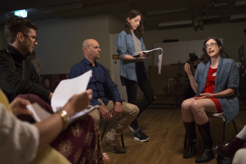 Image by Phil Erbacher. From left to right -> Laurence Rosier-Staines (Actor), Craig Bailey (Actor), Ange McCormack (Director), Maddy Butler (Actor).
