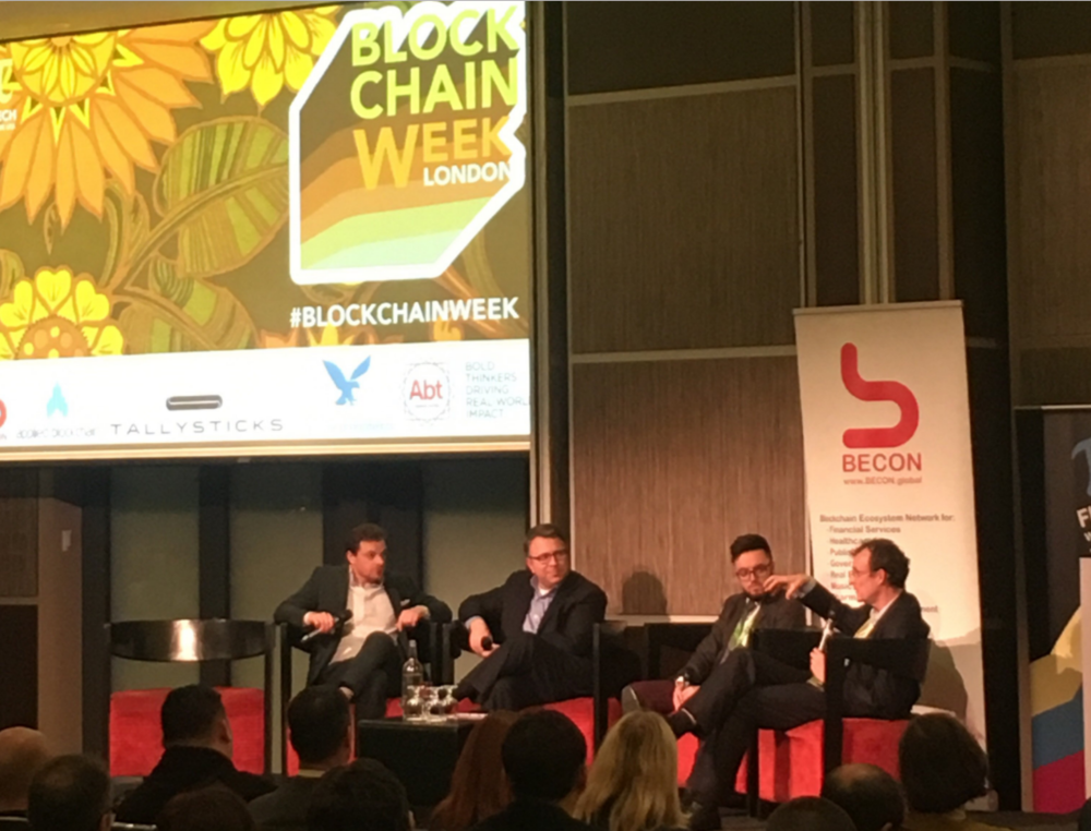 Jonathan Galea (second from right) taking part in the Legal & Compliance panel, along with John Salmon (first from the right), Edan Yago (first from the left), and Richard Levin (second from the left).