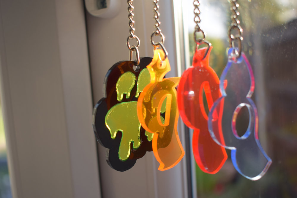 Design for Puppy Pride  Set of 4 laser cut acrylic keychains