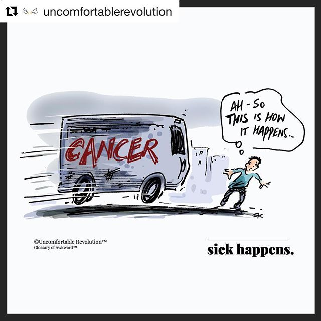 "#Repost @uncomfortablerevolution with @get_repost ・・・ Yep, #cancer happens pretty much like this: ""while you're busy making other plans."" #cancerawareness #findacure #liveinthemoment #awkwardmoments #mondayfunny #cartoon #cancerous #glossaryofawkward #mondayfunnies #originalcartoon #cancerfunny #johnlennon 