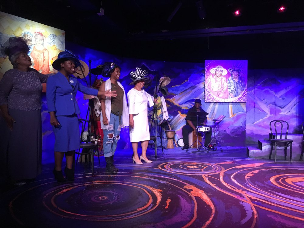 L2R, Renee Lockette as Velma, Tuesdai B. Perry as Jeanette, Asia Jackson as Yolanda, Mardra Thomas as Mother Shaw, saluting to Reggie Thomas as drummer.