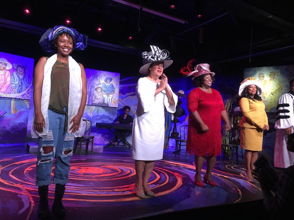 L2R, Asia Jackson as Yolanda, (pianist) Anita Baker, Madra Thomas as Mother Shaw, Robin Beaman as Wanda, Qiana McNary as Mable
