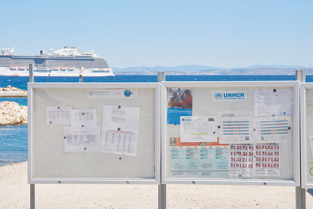 The notice board at the Souda Camp shows some of the missing.