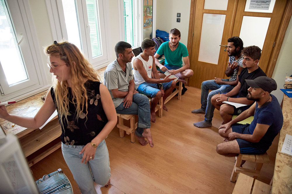 English class in progress at the Hero Centre, Chios, Greece.