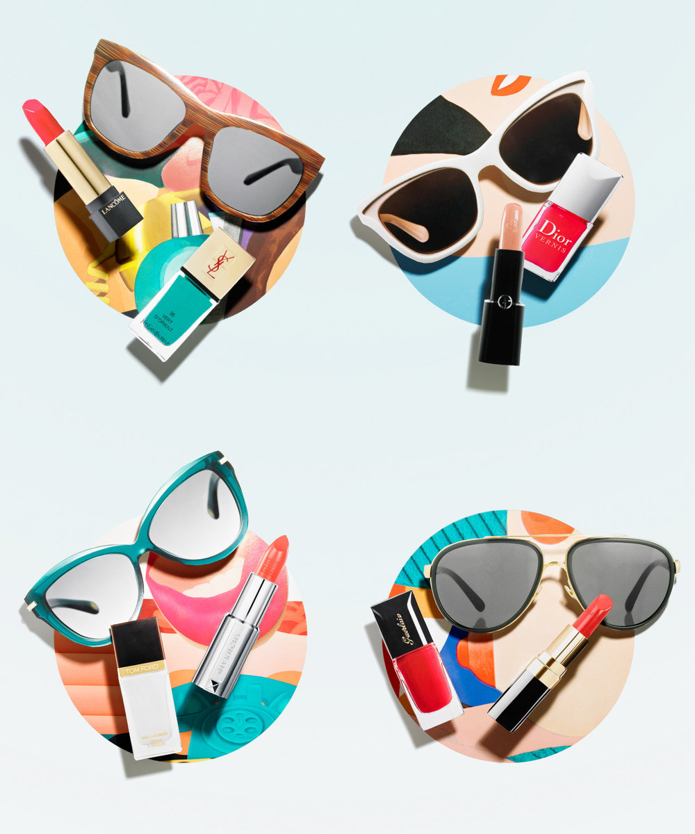 Sun & Games Play with retro shades, bold lip hues and gleaming nail lacquer for a look inspired by Tom Wesselmann's punchy Pop art Photography Christine Blackburne Styling Sydney Wasserman