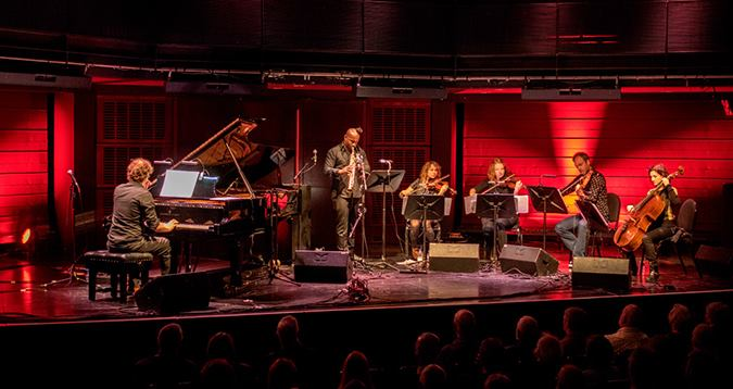 Andrew McCormack and jason Yarde perform with The Elysian String Quartet at Gateshead Jazz Festival,UK, 2014. Photographer: Tim Dickeson