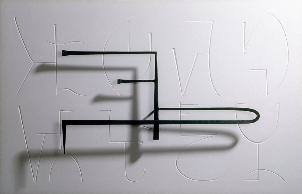 Piano Music no. 15, forged steel on carved plaster panel