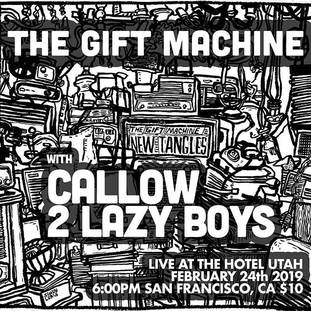 This Sunday! We're excited to be playing with our friends @thegiftmachine (on tour from San Diego) at #hotelutah 🖤 #callow #thegiftmachine #2lazyboys #livemusic #sf #feb24 #bayareamusicscene #indierock #dreamdoom