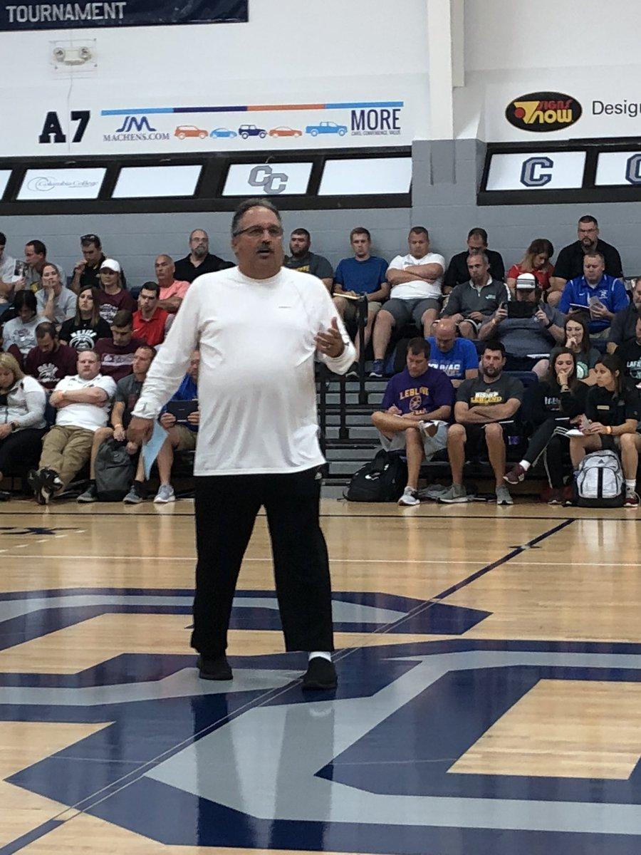 Coach Stan Van Gundy speaking at the MBCA Clinic, September 2018