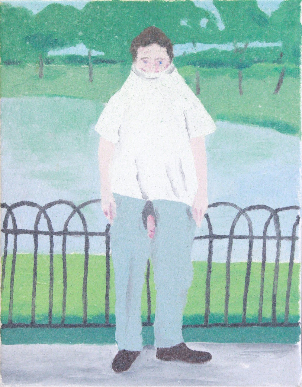 James Rielly  Man in the park  1989 oil on canvas 46 cm x 36 cm © courtesy of the artist & galerie l'inlassable