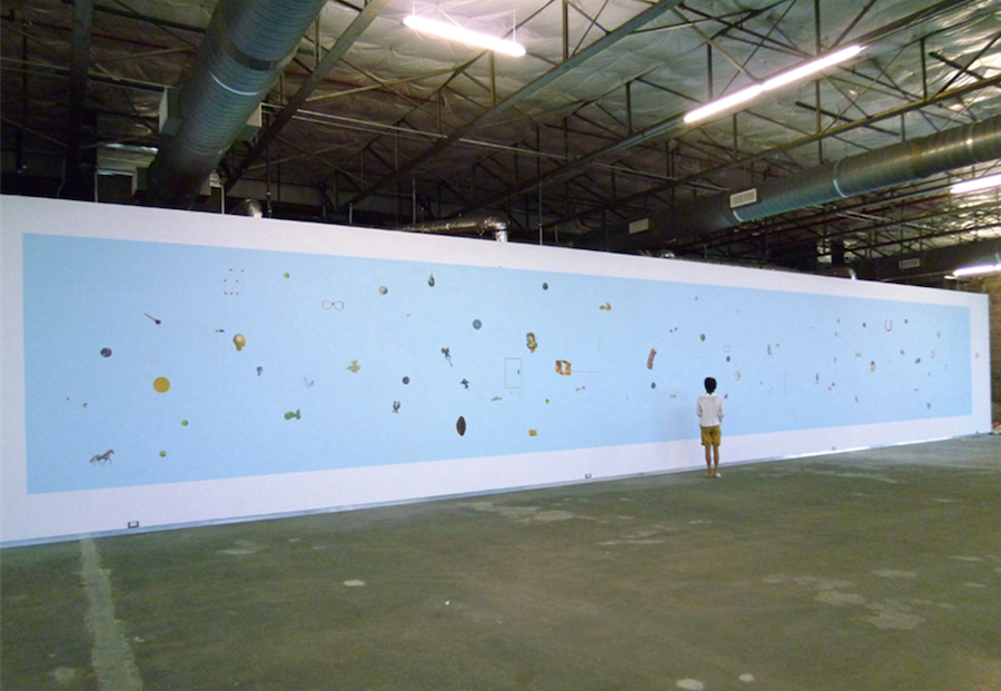 Installation view. Anne Deleporte,  Hermine , 2010, house paint on paper,Dallas Contemporary, Texas (US).