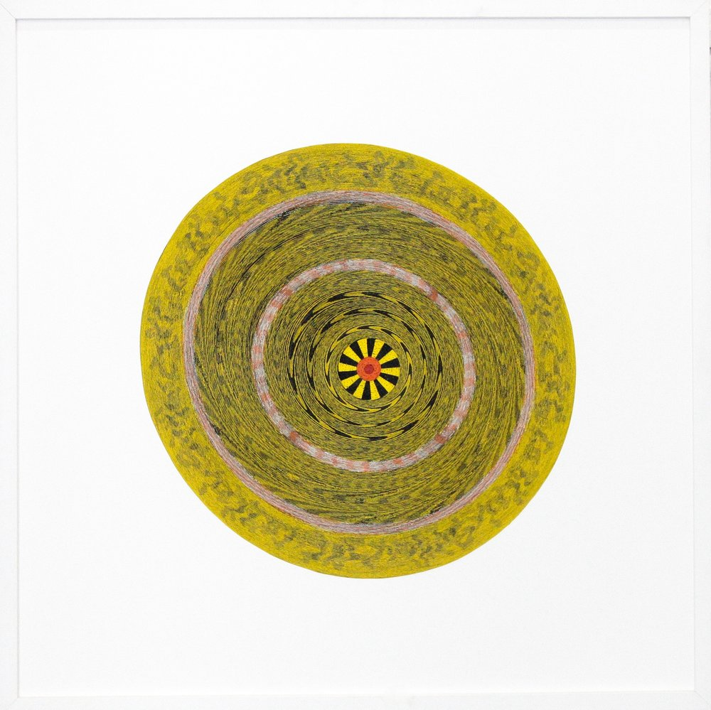 Target (yellow)  2008 Uncoiled paper dartboard 36 × 36 in 91.5 × 91.5 cm 101 × 141 cm © courtesy of the artist & galerie l'inlassable