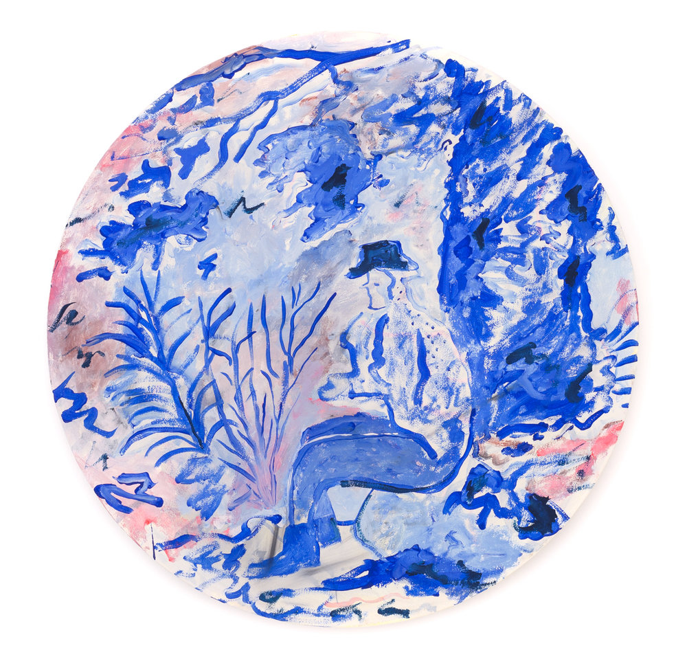 Zach Bruder  Break In The Stretch    2016 Acrylic and Flashe on canvas 50 cm diameter 20 inches diameter