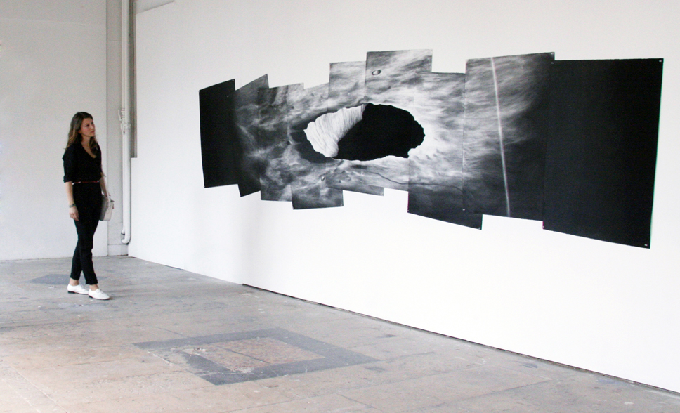 Caroline Corbasson  Crater  2012 charcoal on paper 90 x 700cm © courtesy of the artist & galerie l'inlassable