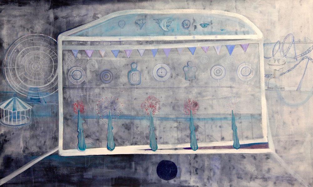 Marcella Barceló  Stand de tir  2015 mixed media on paper 202 x 126 cm