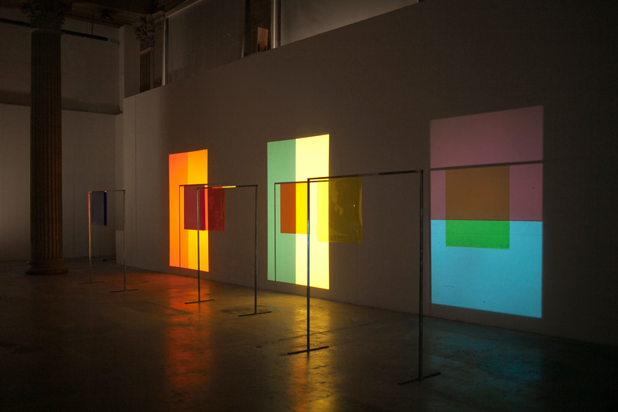 Célia Gondol  Pale Suite  2012 Slide projectors, colored gelatin, steel, medium 13 x 7m