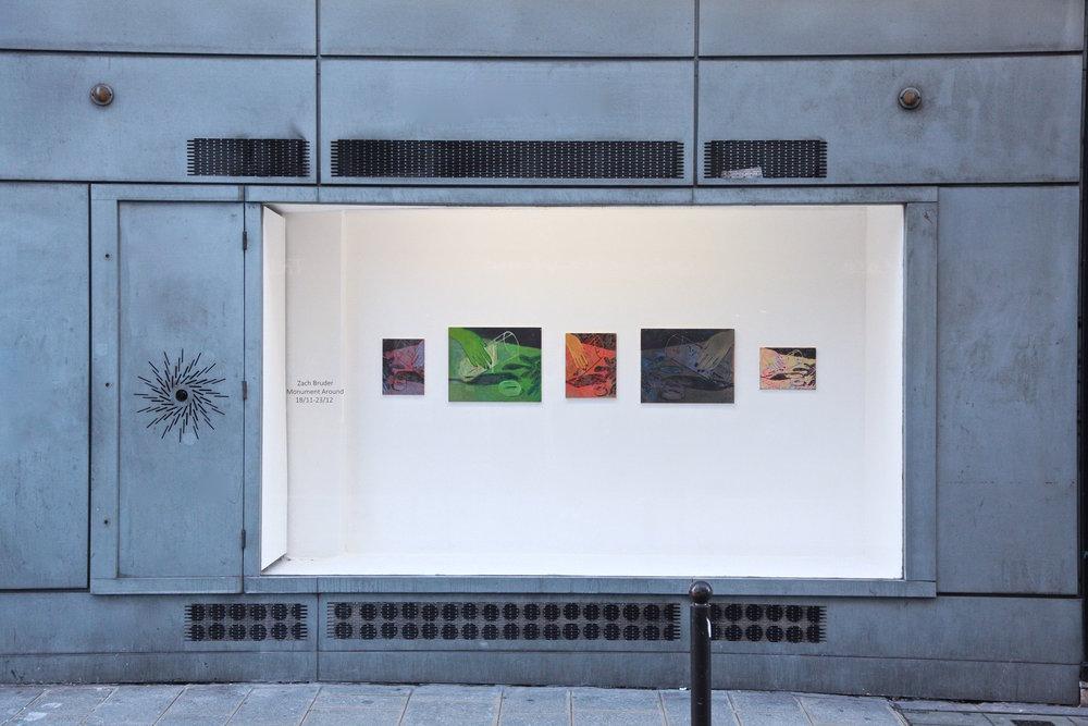 Zach Bruder  Monument Around  2016 Window-space, installation view.