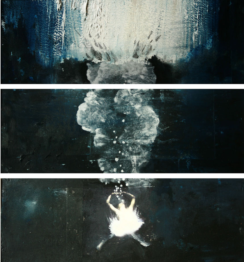 "Storyboard 10, Panels 1-3, 5-7, 8-10 of 11, oil and photo transfer on paper, 4"" x 12"" each, 2012"