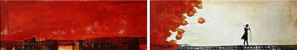 "Storyboard 9, 2 panels, Oil and photo transfer on paper, 4"" x 12"" each, 2012"