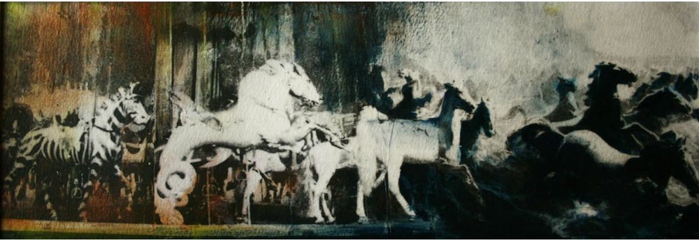 "Storyboard 13, Oil and photo transfer on paper, 4"" x 12"", 2012"