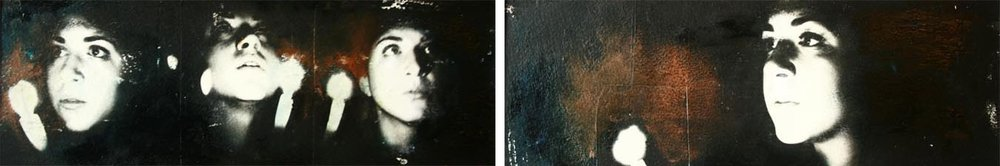 "Storyboard 1, 2 panels, Oil and photo transfer on paper, 4"" x 12"" each, 2012"