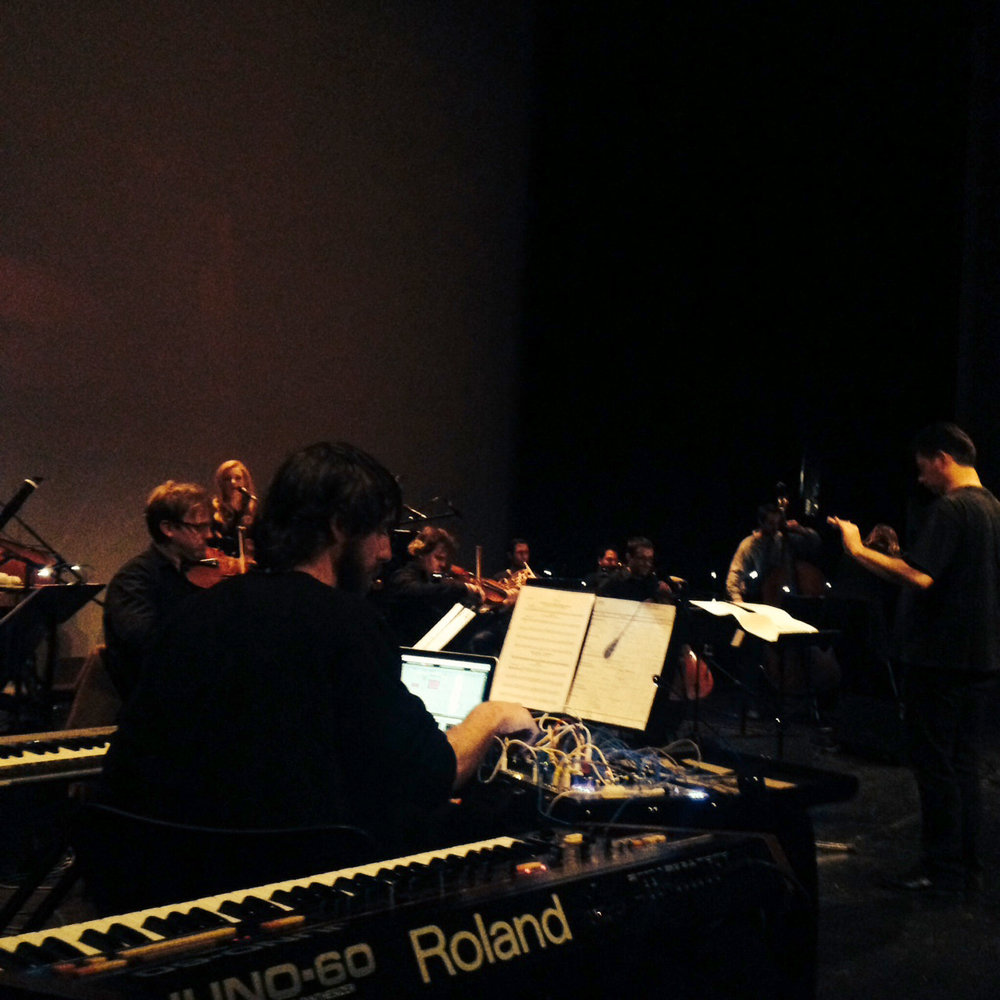 Playing synthesizers with  Christina Vantzou 's orchestra in Belgium in April 2015. I'll return to Belgium in August for a performance at  Ancienne Belgique  in Brussels.