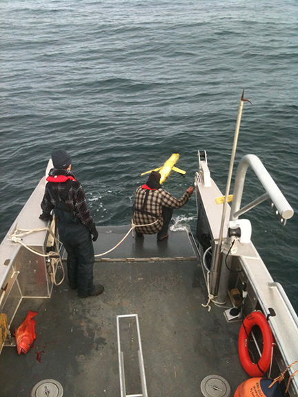 Recovering an ocean glider for a research project...12 miles off the west coast of Haida Gwaii in 3000 feet of water!