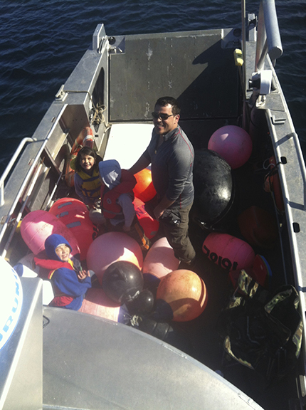 The kids love it when we gather all the rubber floats.