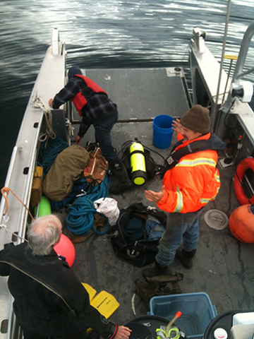 Setting up to dive on a wreck off the west coast of Haida Gwaii.