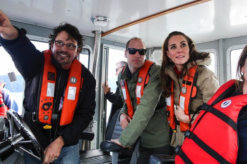 The Duke and Duchess of Cambridge enjoy time on the Highland Ranger for a VIP trip in Skidegate Inlet.