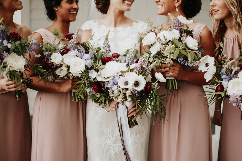May Garden Wedding Bridal Party Bouquets