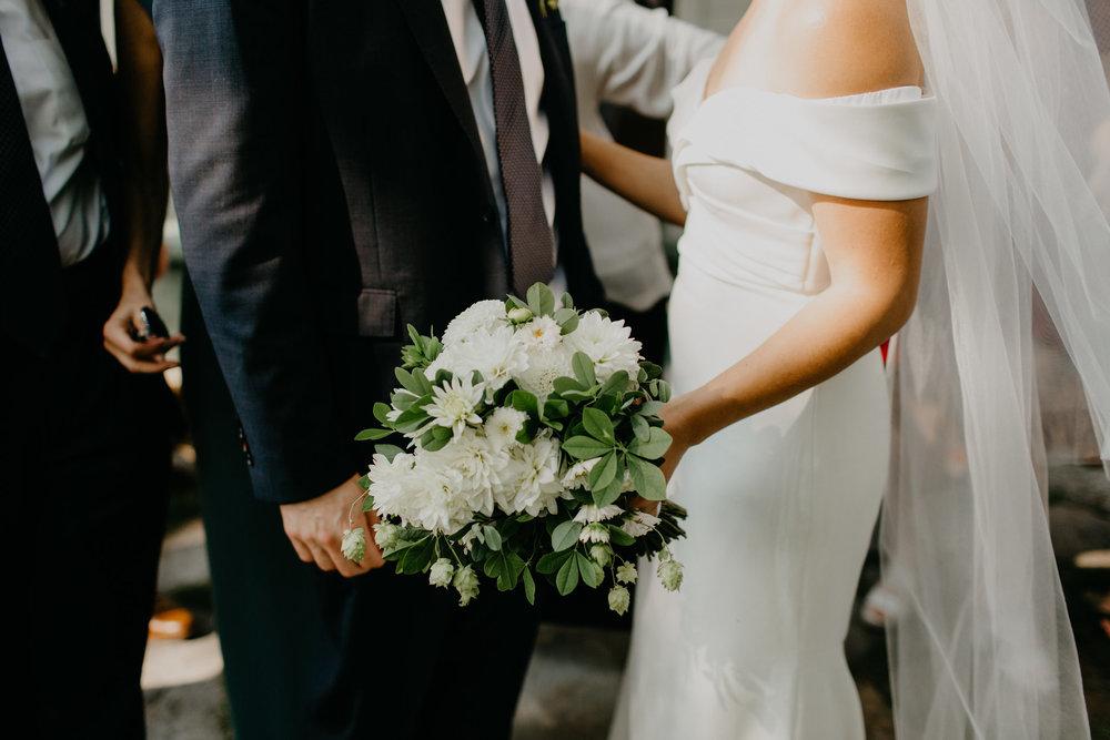 White Dahlia and Hops Bridal Bouquet