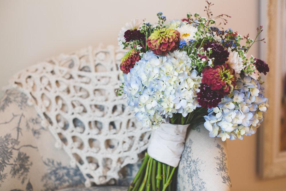 Hydrangea and Zinnia Garden Bridal Bouquet