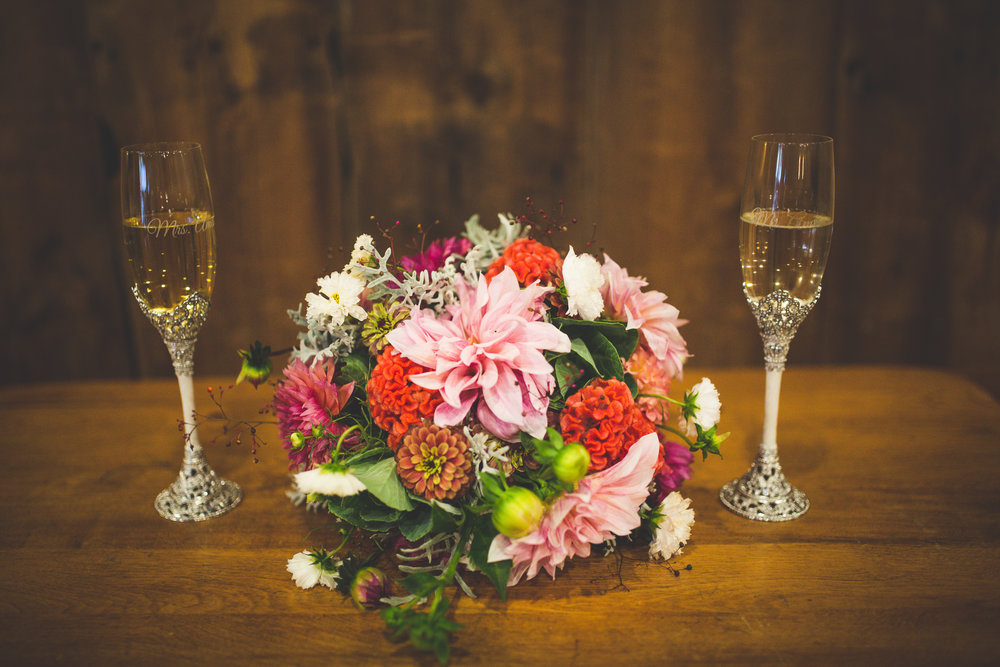 Blush Dahlia and Peach Celosia Bridal Bouquet