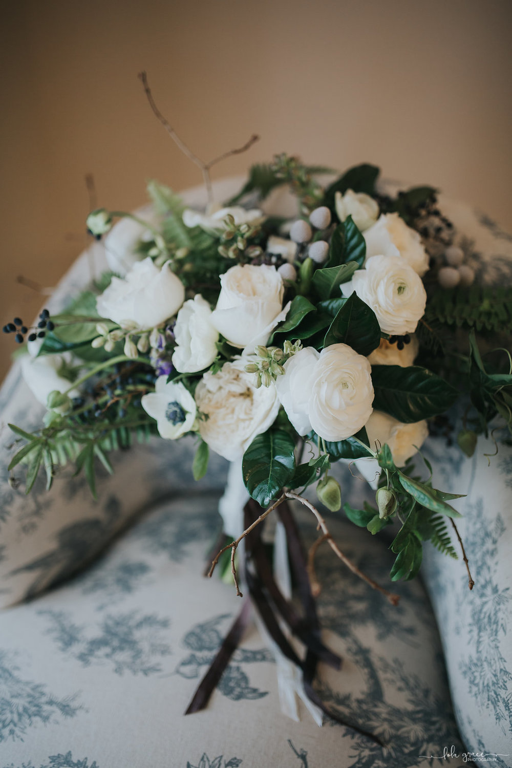 Ranunculus and Greenery Winter Bouquet