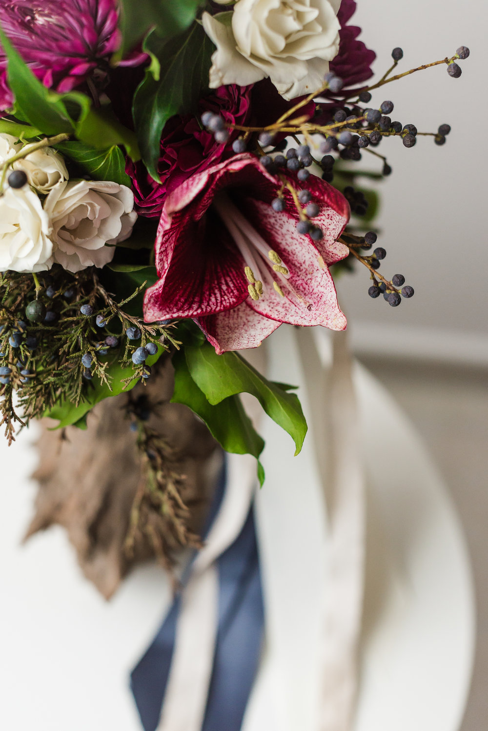 Amaryllis and Greenery Winter Bouquet