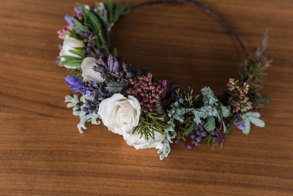 Textural Winter Floral Crown