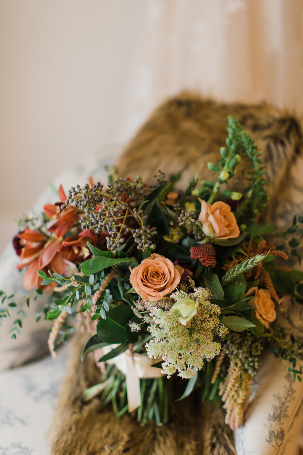 Fall Amaranth and Garden Rose Bridal Bouquet