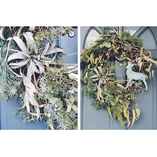 The last wreath of the season - this one is all for me!! With all my favourite things - reindeer, ceropedgia, geometric copper shapes, air plants and tonnes of English grown foliages 🌿❄️🤖🍃