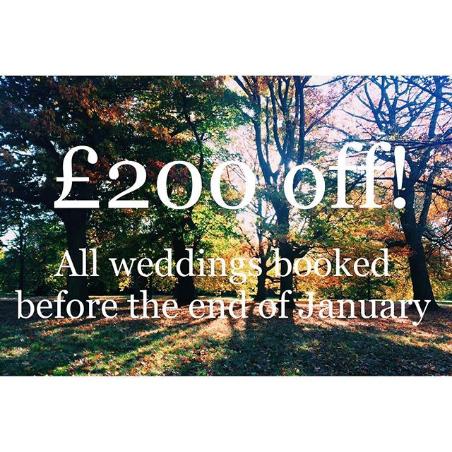 Don't forget about our New Year deal 🌳 Send me an email or direct message about your upcoming wedding & if you confirm the booking before the end of January then I'll give you £200 off because I'm just lovely like that 😘