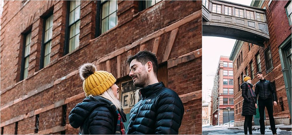 nyc newborn and family photographer married couple standing still on staple st
