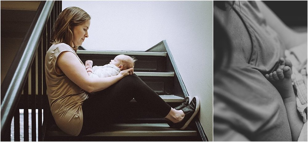 nyc family and newborn photographer mom, dad and newborn baby girl in stairwell in Chelsea apartment block