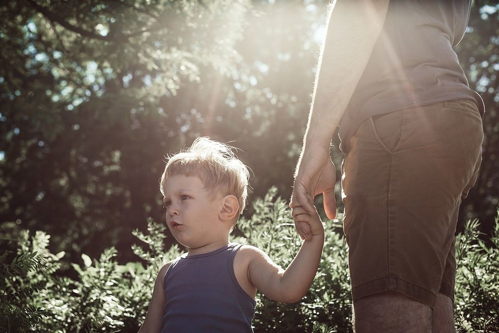 son holding dad's hand while standing in the sunshine in front of nice leafy green bushes in nyc