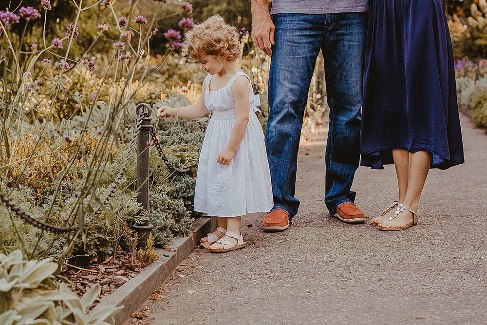 mom and dad stand by daughter as she explores bright and colorful flowers in manhattan park during fall family session in nyc